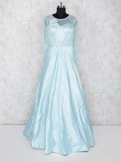 Aqua hue round neck satin gown