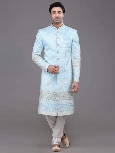 Sky blue silk wedding special indo western