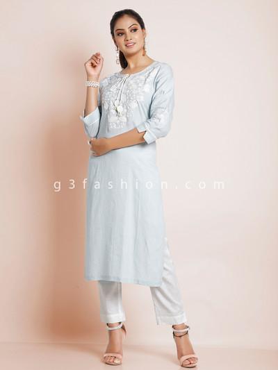 Sky blue solid casual wear cotton kurti