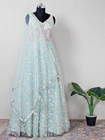 Sky blue wedding wear anarkali suit with sequins detail