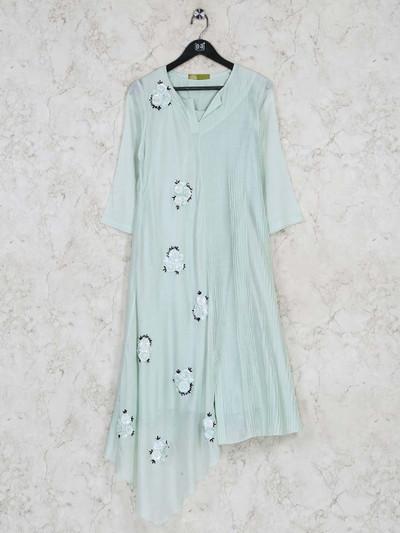 Sober pista greenfestive wear kurti in cotton