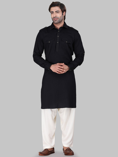 Solid black cotton rayon pathani suit