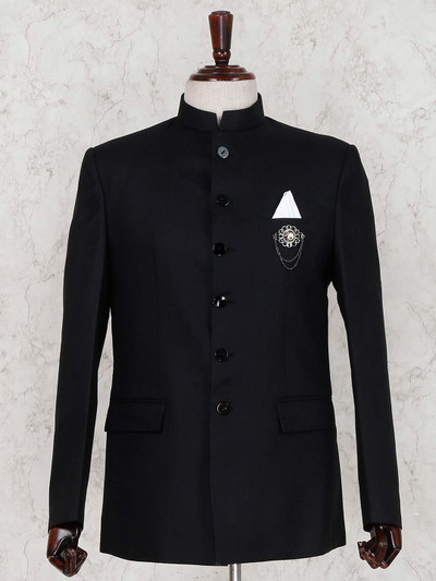 Solid black terry rayon jodhpuri suit for party
