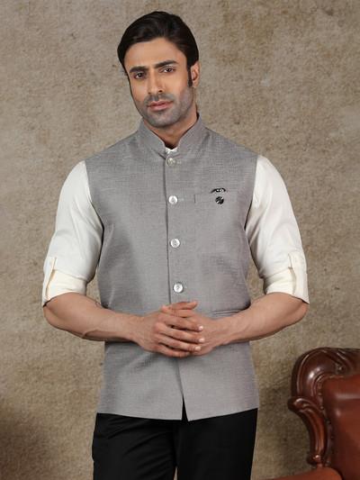 Solid grey raw silk waistcoat party wear