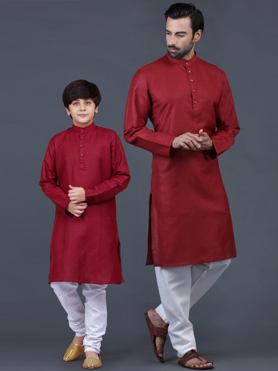Solid maroon cotton father-son kurta suit for festive