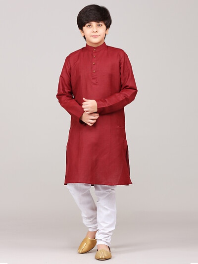 Solid maroon cotton kurta suit for festive