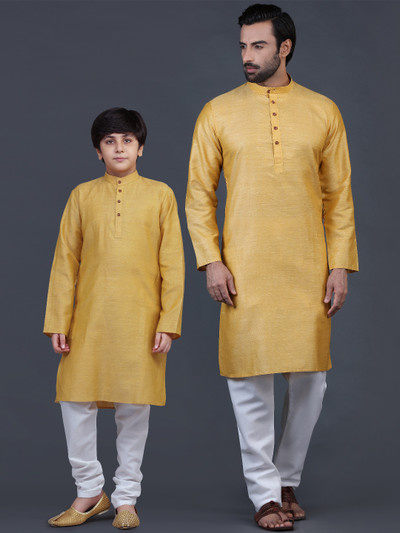 Solid mustard yellow cotton kurta suit for father and son