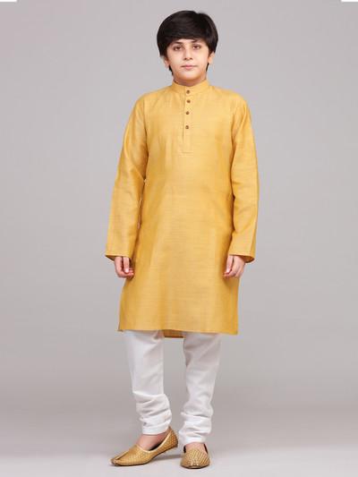 Solid mustard yellow cotton stand collar kurta suit
