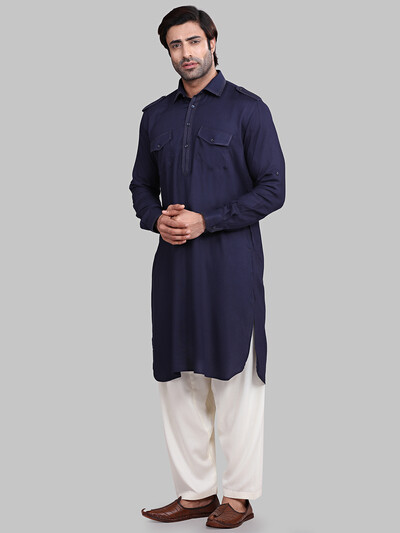 Solid navy festive wear pathani suit