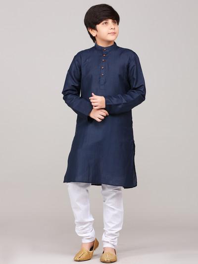 Solid navy full sleeves boys kurta suit for festive