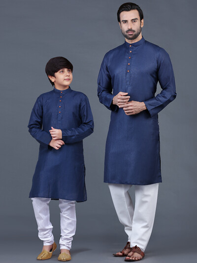 Solid navy full sleeves father-son kurta suit for festive