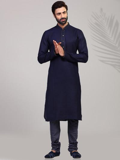 Solid navy stand neck kurta suit