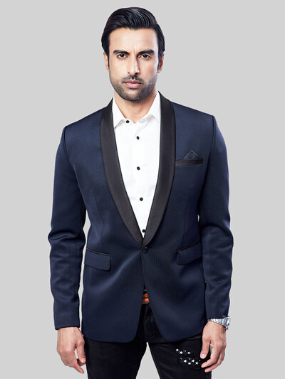 Solid navy terry rayon fabric mens blazer