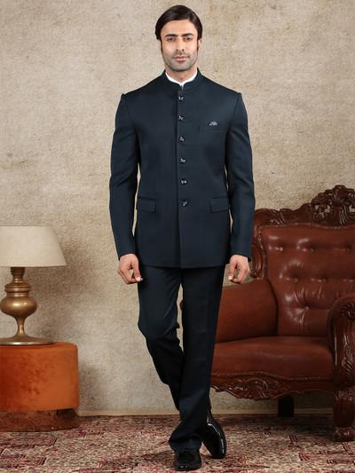 Solid navy terry rayon mens jodhpuri suit