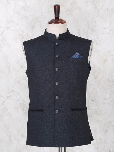 Solid navy terry rayon mens waistcoat party wear