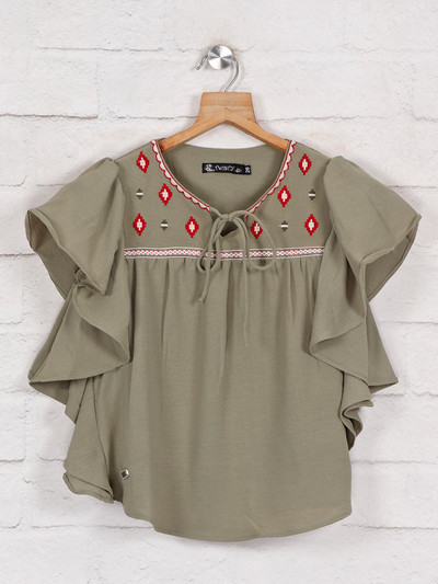 Solid olive cotton top with thread work