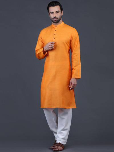 Solid orange stand neck kurta suit