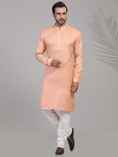 Solid peach cotton kurta suit