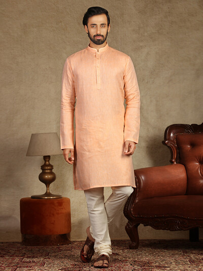 Solid peach cotton simple kurta suit