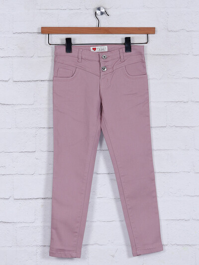 Solid peach skinny fit cotton jeggings