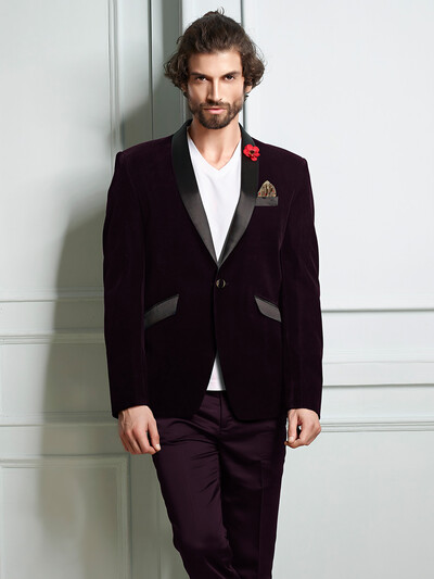 Solid purple color velvet blazer