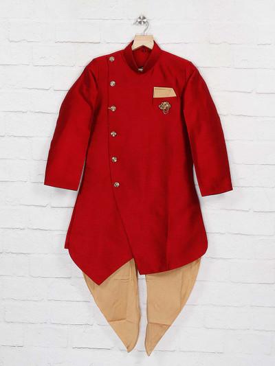 Solid red hue raw silk fabric indo western