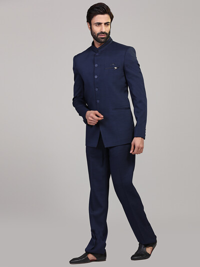 Solid royal blue color jodhpuri suit in terry rayon