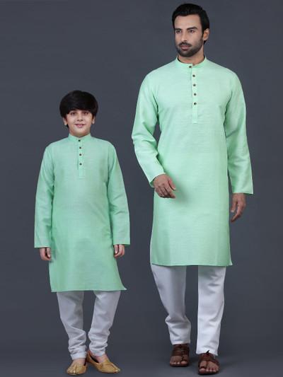 Solid sea green cotton festive wear father-son kurta suit