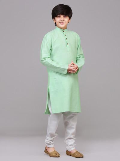Solid sea green cotton festive wear kurta suit