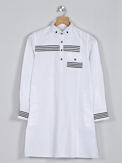Solid white cotton short pathani suit