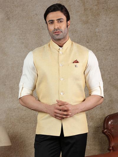 Solid yellow raw silk party wear waistcoat
