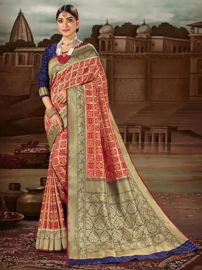 Special red banarasi silk wedding wear saree