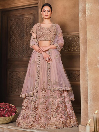 Spectacular heavy pink semi stitched lehenga choli for wedding