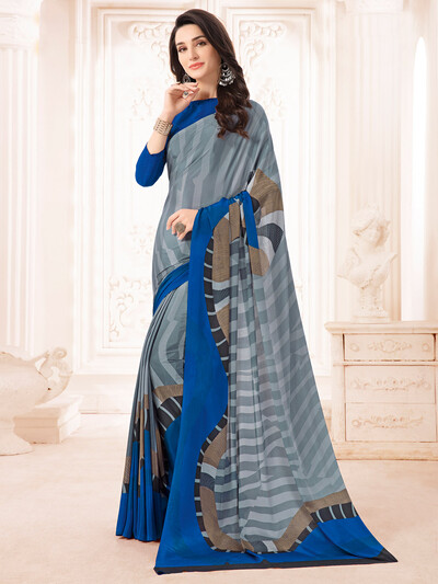 Spectacular printed grey and blue crepe saree