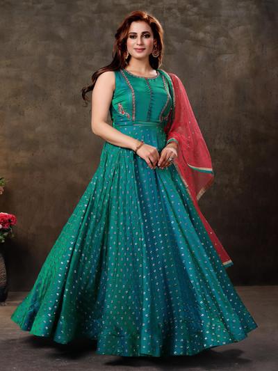 Splendid aqua silk anarkali suit for festive wear