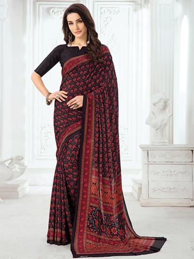 Splendid black printed crepe saree