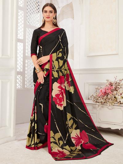 Splendid black saree in crepe fabric