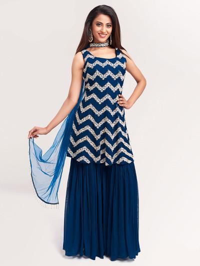 Splendid blue punjabi style salwar kameez for festive functions