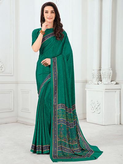 Splendid crepe sea green printed saree