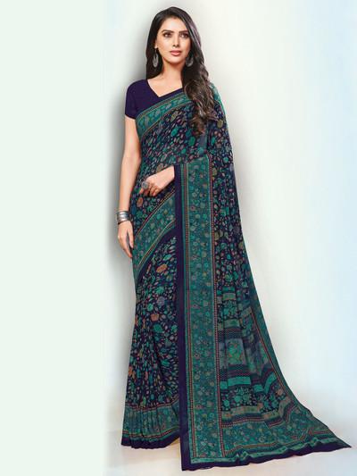 Splendid navy saree in georgette fabric