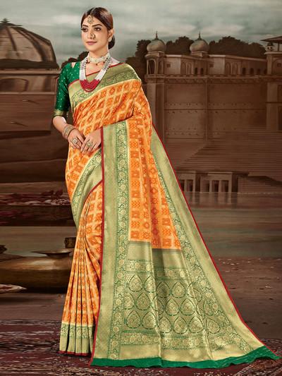 Splendid yellow banarasi silk saree for wedding occasions