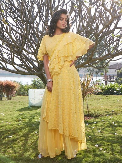 Splendid yellow georgette designer party wear palazzo suit
