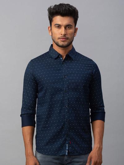 Spykar polka dot navy printed casual shirt