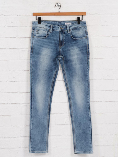 Spykar washed blue casual mens jeans