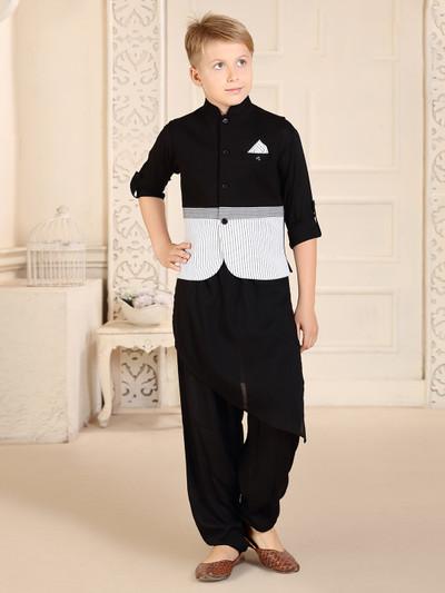 Stand collar black cotton stripe waistcoat set