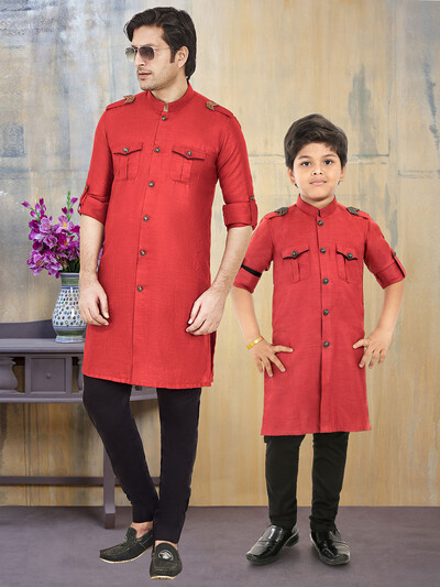 Stand collar cotton fabric father son pathani suit