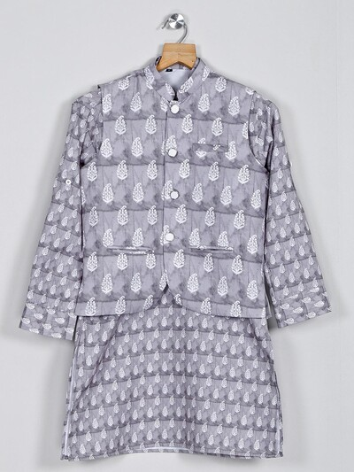 Stand collar grey printed cotton cotton waistcoat set