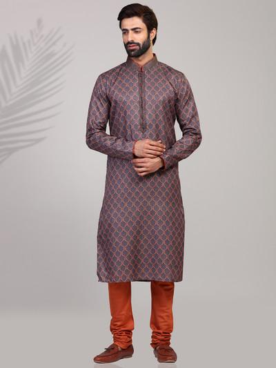 Stand collar grey printed cotton silk kurta suit