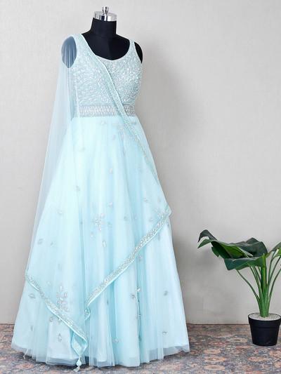 Steel aqua hue net wedding wear anarkali suit