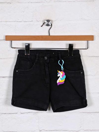 Stilomoda black solid baby girls shorts